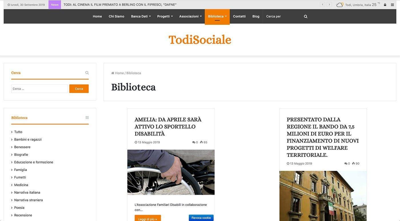 UpYourBrand - Agenzia Web - Sviluppo Sito Web - Todi Sociale - Biblioteca