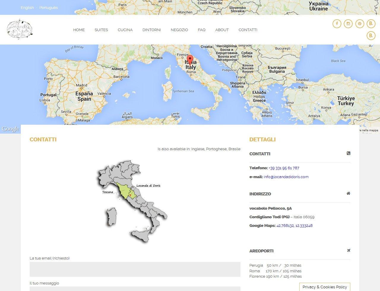 UpYourBrand - Sviluppo Sito Web - Locanda di Doris - Contatti