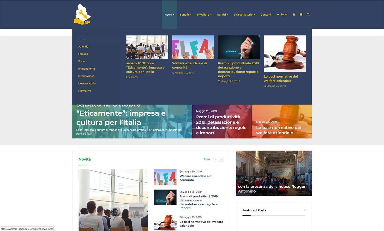 UpYourBrand - Sviluppo Sito Web - Welfare Aziendale - Megamenu
