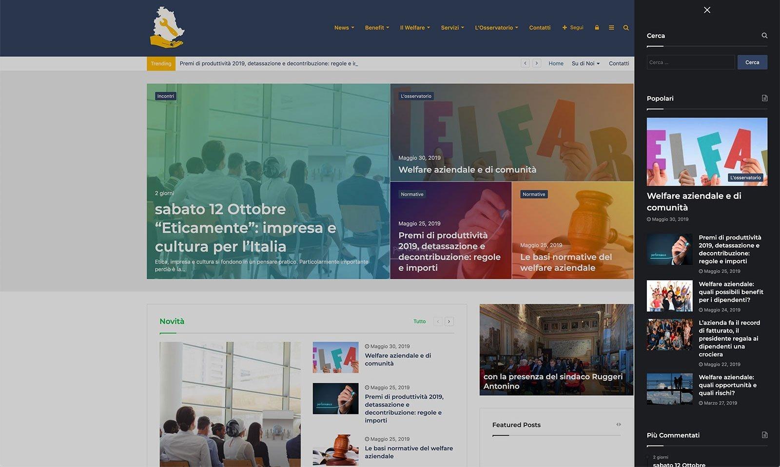 UpYourBrand - Sviluppo Sito Web - Welfare Aziendale - Menu Sx